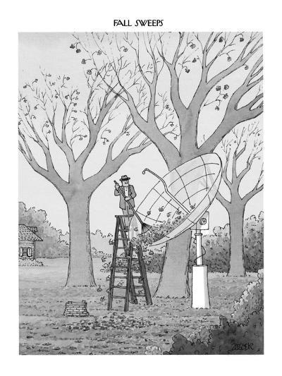 Man in suburban yard rakes leaves out of huge satellite dish. - New Yorker Cartoon-Jack Ziegler-Premium Giclee Print