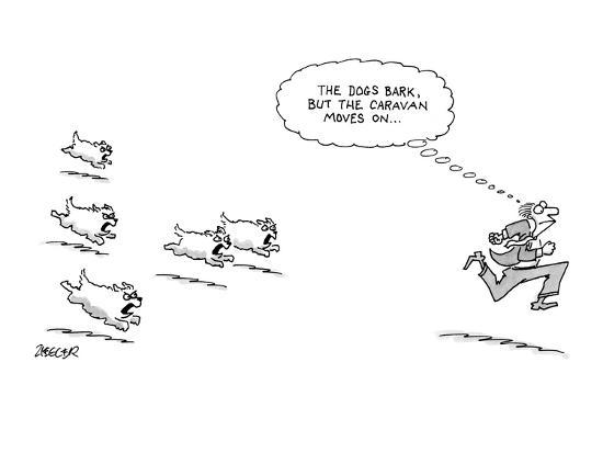 Man In Suit Runs From A Pack Of Barking Dogs He Thinks To Himself The D New Yorker Cartoon Premium Giclee Print Jack Ziegler Art Com