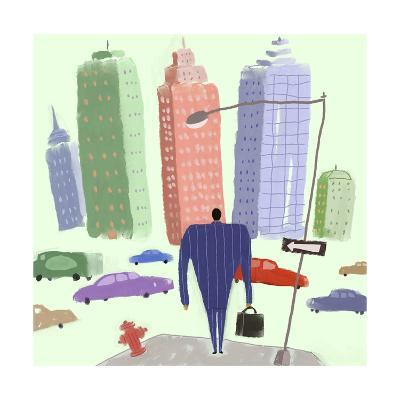 Man in Suit Walking Toward City Filled with Cars--Art Print