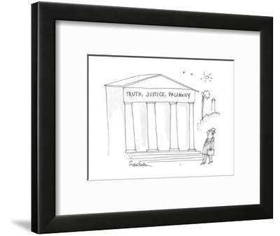 man, in Washington, walks past an institutional building with  'Truth, Jus? - Cartoon-Harley L. Schwadron-Framed Premium Giclee Print