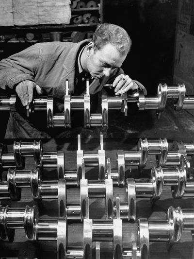 Man Inspecting Fine Steel Airplane Crankshaft--Photographic Print