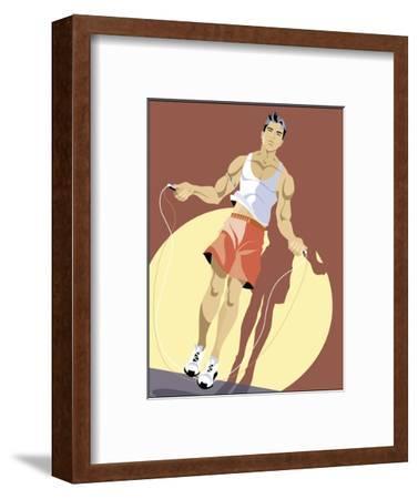 Man Jumping Rope--Framed Art Print