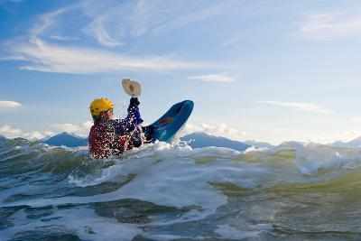Man Kayak Surfing Waves on Katchemak Bay Near Homer Kenai Peninsula Alaska Autumn-Design Pics Inc-Photographic Print