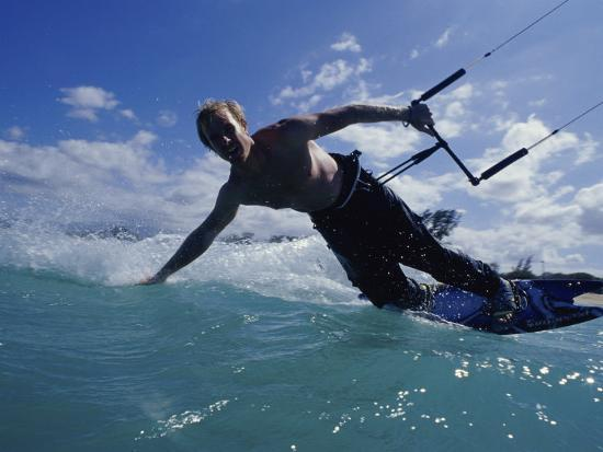 Man Kitesurfing on the Surface of Water--Photographic Print