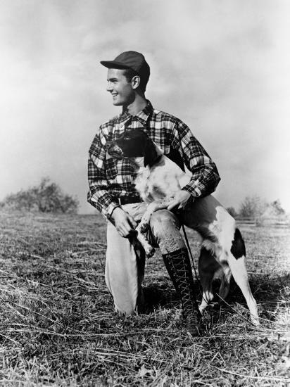Man Kneeling Down Next To Setter, Arm Around Dog-H^ Armstrong Roberts-Photographic Print