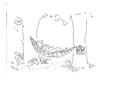 Man laying in hammock with medical chart hanging from one of  the trees. - Cartoon-Arnie Levin-Premium Giclee Print