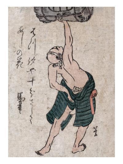 Man Lifting a Sake Barrel, Japanese Wood-Cut Print-Lantern Press-Art Print