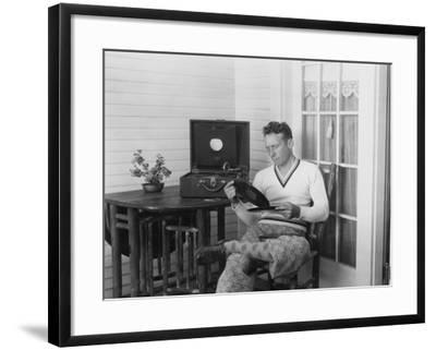 Man Listening to Records--Framed Photo
