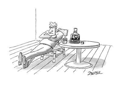 """Man looking angry drinking """"Snit In A Bottle"""". - New Yorker Cartoon-Jack Ziegler-Premium Giclee Print"""