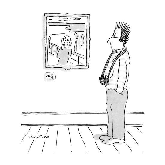 Man looking at Munch's scream with tape recorder-guide with his hair stand? - New Yorker Cartoon-Michael Crawford-Premium Giclee Print