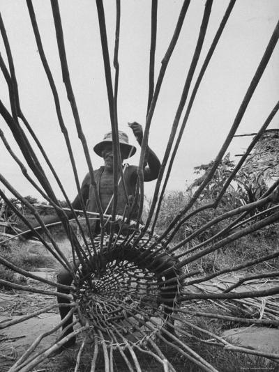 Man Making a New Trap For Fishing-Dmitri Kessel-Photographic Print
