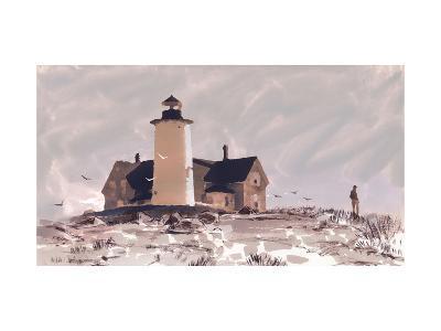 Man Near the Lighthouse--Art Print