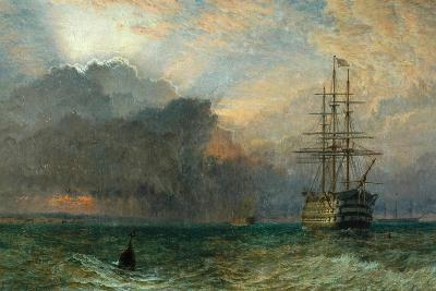 Man O'War and a Stormy Sunset (The Guardship), 1875-Henry Dawson-Giclee Print