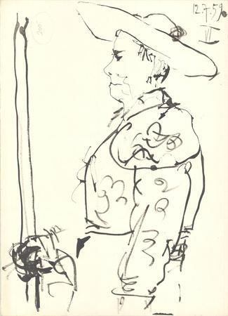 Man on a Horse (Detail)-Pablo Picasso-Lithograph