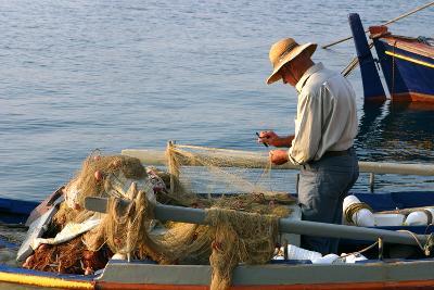 Man on Board a Fishing Boat, Sami, Kefalonia, Greece-Peter Thompson-Photographic Print
