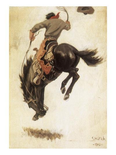 Man on Bucking Bronco, 1902-Newell Convers Wyeth-Giclee Print