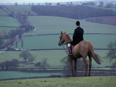 Man on horse, Leicestershire, England-Alan Klehr-Photographic Print