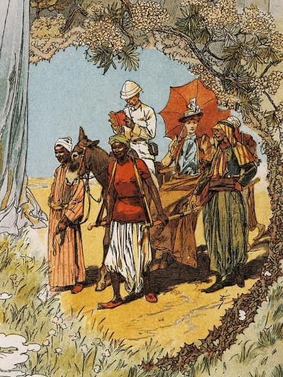 Man on Horseback and Woman Being Carried on Sedan Chair by Natives--Giclee Print