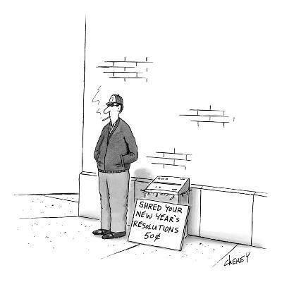 Man on street with paper shredder and sign that reads, 'Shred Your New Yea? - New Yorker Cartoon-Tom Cheney-Premium Giclee Print