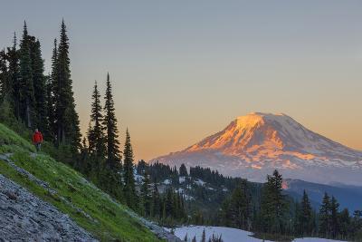 Man on Trail, Mt Adams Back, Goat Rocks Wilderness, Washington, USA-Gary Luhm-Photographic Print