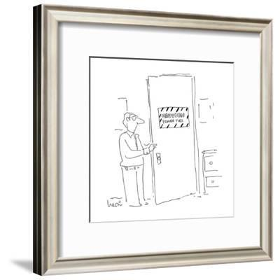 Man opens door with sign that reads 'Caution Power Ties.' - Cartoon-Arnie Levin-Framed Premium Giclee Print
