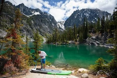 Man Paddle Boards Using Inflatable SUP, Colchuck Lake Alpine Lakes Wilderness Of The Cascade Range-Ben Herndon-Photographic Print