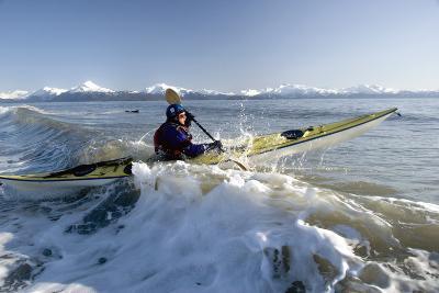 Man Paddles Kayak in Surf Kachemak Bay Homer Ak Kp Spring-Design Pics Inc-Photographic Print