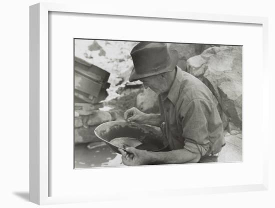 Man Panning Gold at Pinos Altos, New Mexico-Russell Lee-Framed Photo