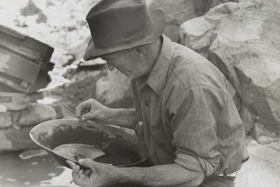 Man Panning Gold at Pinos Altos, New Mexico-Russell Lee-Photo