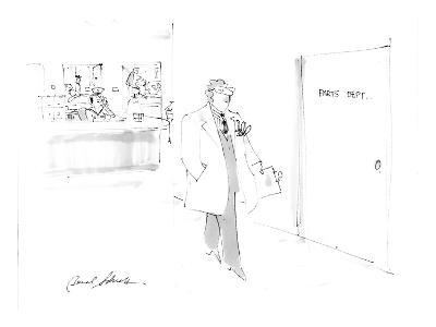 man passing hospital door sign:  parts depart. - Cartoon-Bernard Schoenbaum-Premium Giclee Print