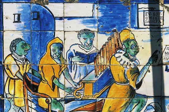 Man Playing an Organ, Azulejos Tiles, Palace of Marquises of Fronteira--Giclee Print