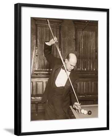 Man Playing Billiards--Framed Photographic Print
