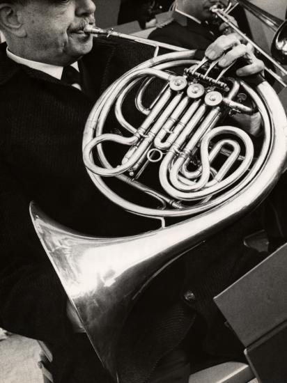 Man Playing French Horn-George Marks-Photographic Print