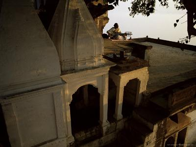 Man Playing Sarod on Terrace, India-John Henry Claude Wilson-Photographic Print