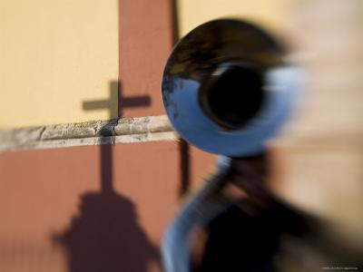 Man Plays a Tuba in the Courtyard of the Basilica of Guanajuato, Mexico-David Evans-Photographic Print