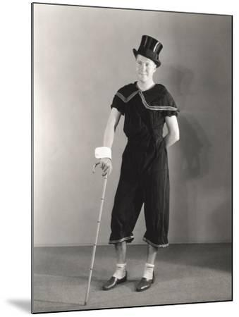Man Posing in Cuffs, Top Hat and Circus Costume--Mounted Photo