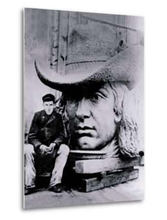 Man Posing with William Penn's Head, Philadelphia, Pennsylvania