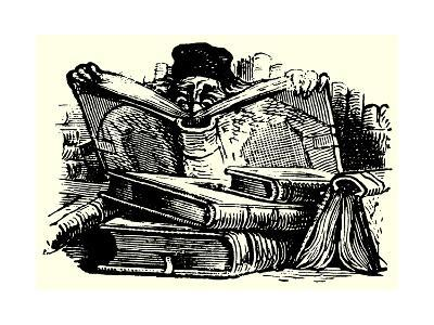 Man Reading Behind Large Books--Giclee Print