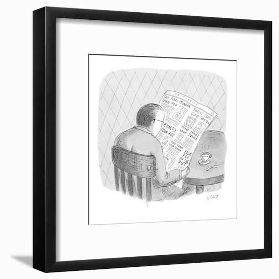 Man reads the obituaries in newspaper; headlines for each death refer, rel? - New Yorker Cartoon-Roz Chast-Framed Premium Giclee Print