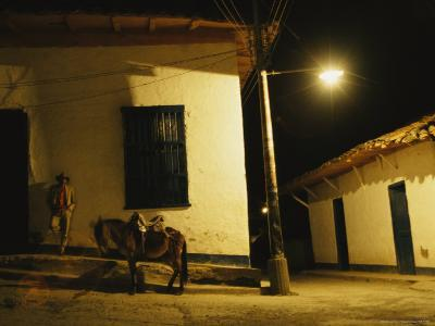 Man Rests Against a Wall Near His Donkey Under a Streetlight-David Evans-Photographic Print