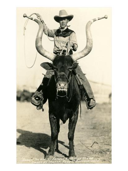 Man Riding Lyre-Horned Steer--Art Print