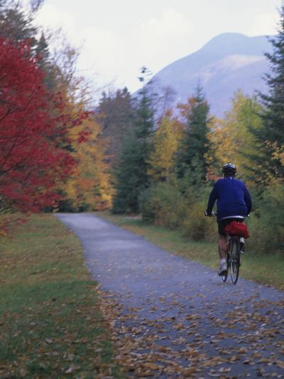 Man Riding on Paved Trail, Franconia Notch, New Hampshire, USA-John & Lisa Merrill-Photographic Print