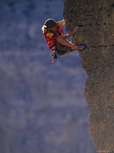 Man Rock Climbing in Wyoming-Bobby Model-Photographic Print