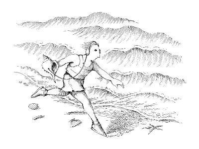 Man running along the beach listening to a sea shell with earphones. - New Yorker Cartoon-John O'brien-Premium Giclee Print
