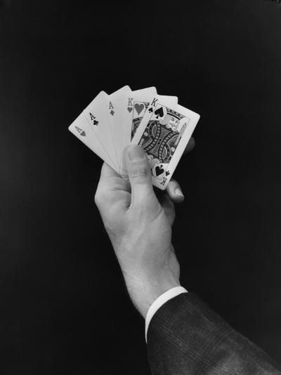 Man's Hand Holding 'Full House' Poker Card Hand-H^ Armstrong Roberts-Photographic Print