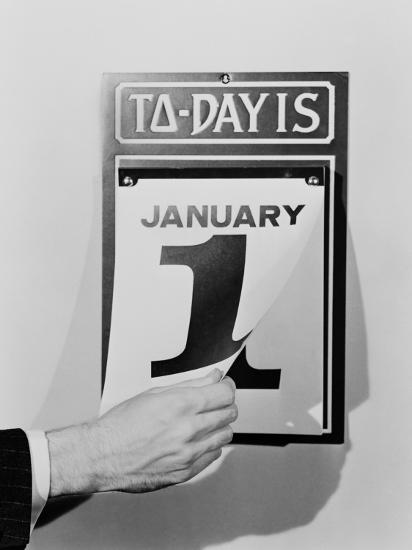 Man's Hand Tearing January 1 Page Off of Daily Wall Calendar-H^ Armstrong Roberts-Photographic Print