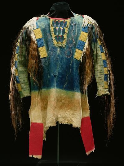 Man's Shirt, Cheyenne, C.1860 (Buckskin, Wool, Ermine Skin and Human Hair)-American-Giclee Print