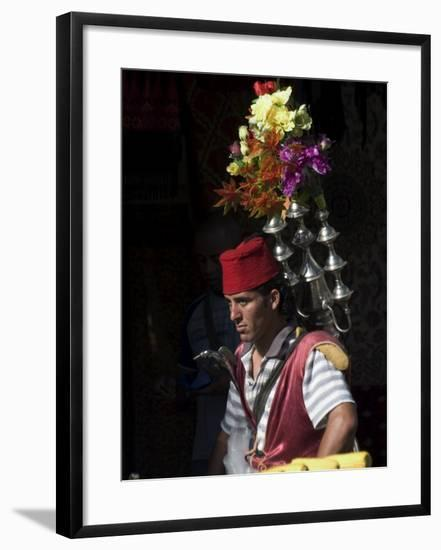 Man Selling Tea in Traditional Costume, Old Walled City, Jerusalem, Israel, Middle East-Christian Kober-Framed Photographic Print