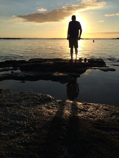 Man Silhouette Beach Rocks Mauritius Sunset-Tinus Potgieter-Photographic Print