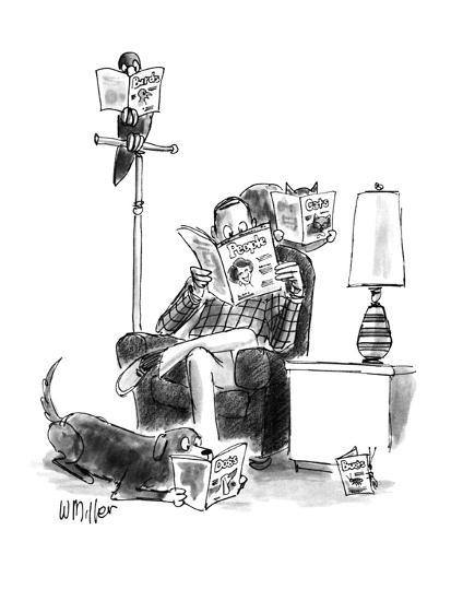 "Man sits reading ""People,"" bird reads, ""Birds,"" cat on chair reads, ""Cats.? - New Yorker Cartoon-Warren Miller-Premium Giclee Print"